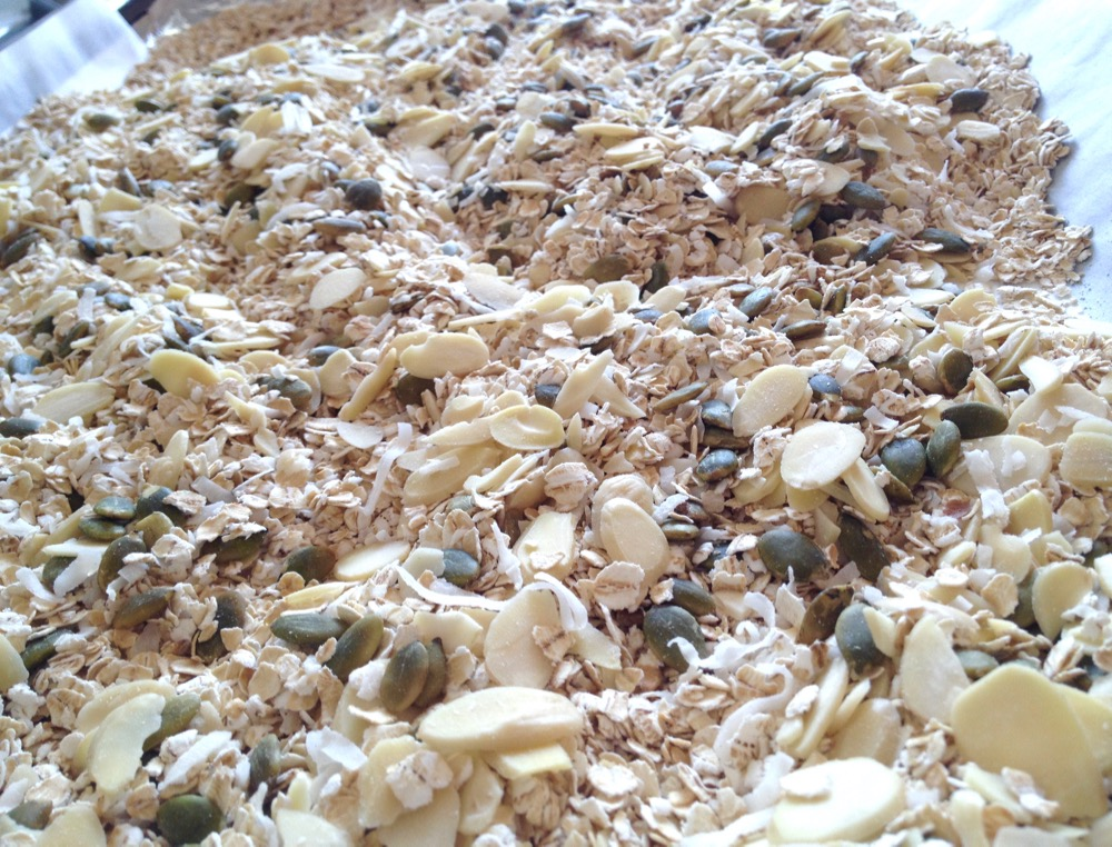 Roasting the oats and nuts releases warmth in this cereal mix