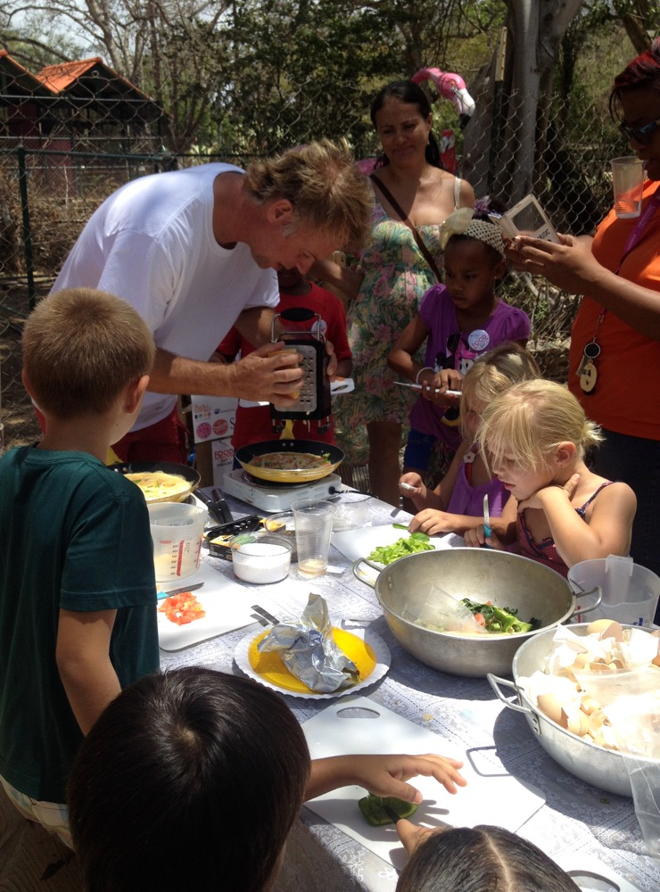 Happy Chicks captain cooking up a storm with the kids on FRD 2016